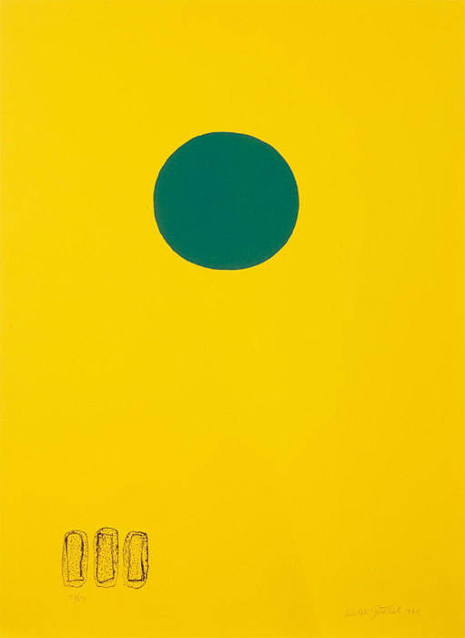 """<br><i>Chrome Yellow - Green Disc</i> <br> 1966<br>Lithograph<br>30 x 22"""""""