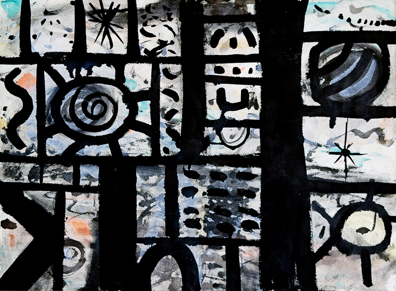 <br><i>Disparate Images</i> <br> 1953<br>Gouache on paper<br>21 x 28""