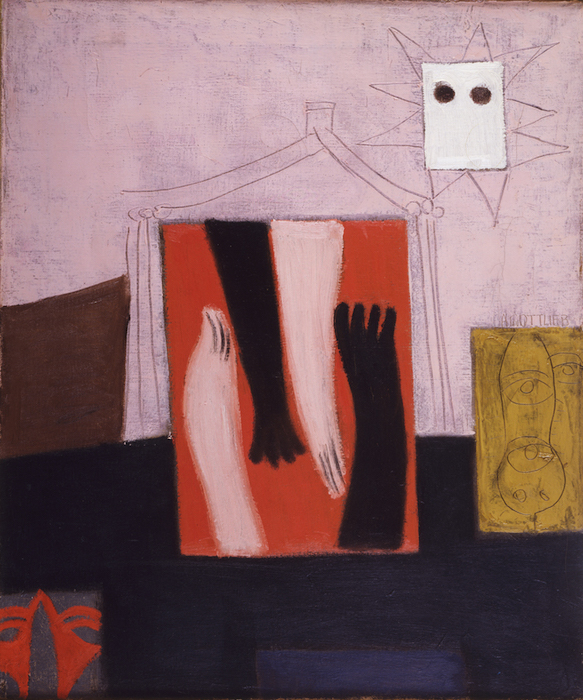 <br><i>Home</i><br>1943<br>Oil and pencil on linen<br>23 x 19""