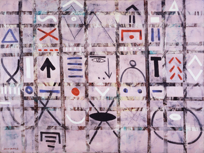 <br><i>Labyrinth #1</i><br>1950<br>Oil and sand on linen<br>36 x 48""
