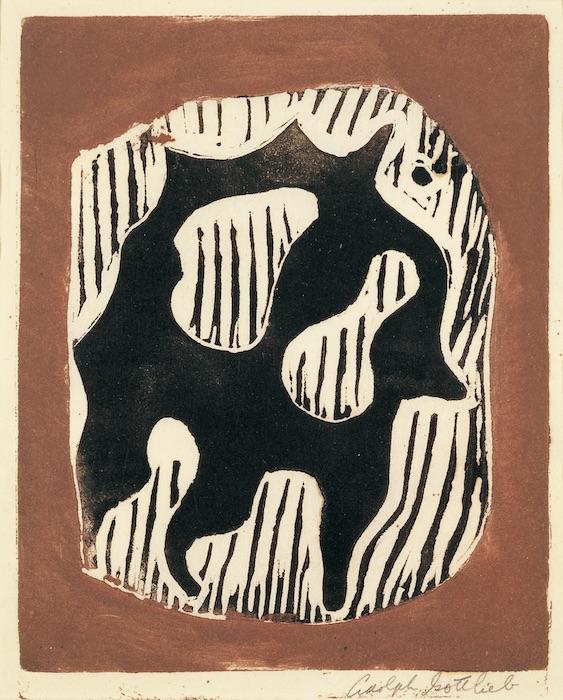 """<br><i>Untitled</i><br>c. 1944<br>Linocut on paper<br>7 x 6"""""""