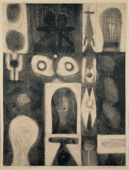 """<br><i>Apparition</i><br>1945<br>Mixed media on paper<br>20 x 15"""""""