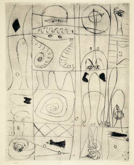 <br><i>Untitled</i><br>c. 1945<br>Etching on paper<br>9 x 7""