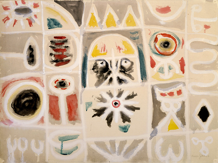<br><i>Untitled</i><br>1948<br>Gouache on paper<br>18 x 24""