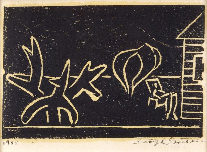"""<br><i>Untitled (Arizona Landscape)</i><br>c. 1938<br>Linocut on paper<br>3 x 4"""""""