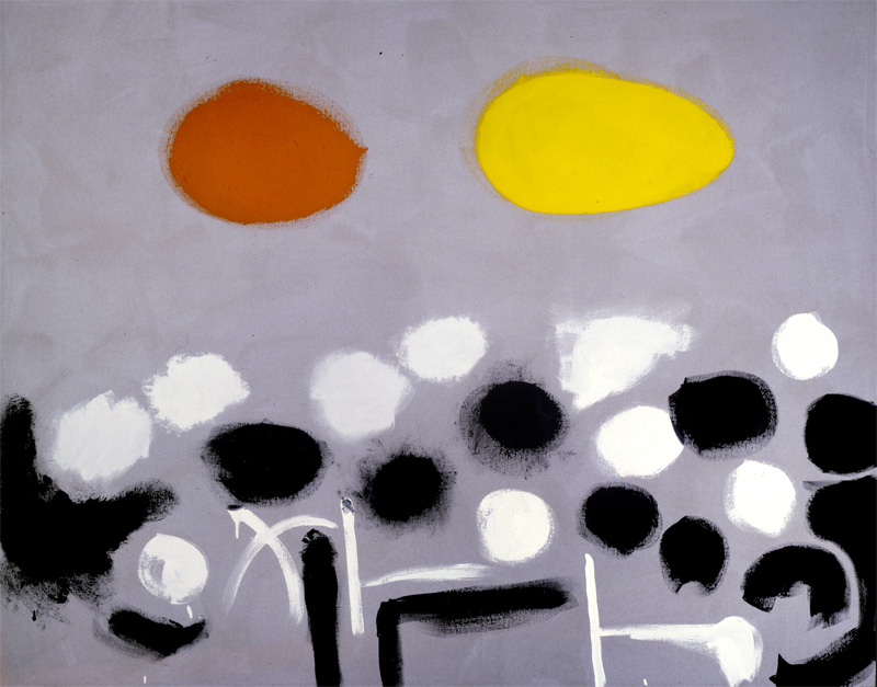 <br><i>Yellow Jacket</i><br>1972<br>Acrylic on canvas<br>48 x 60""
