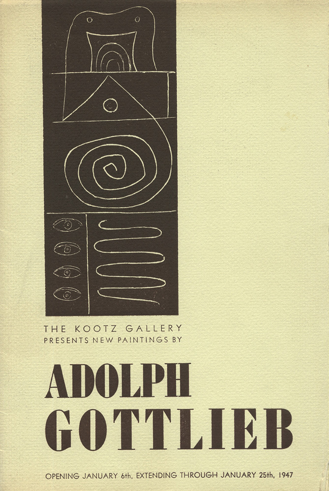 Invitation to a Gottlieb exhibition<br>at Kootz Gallery<br>1947