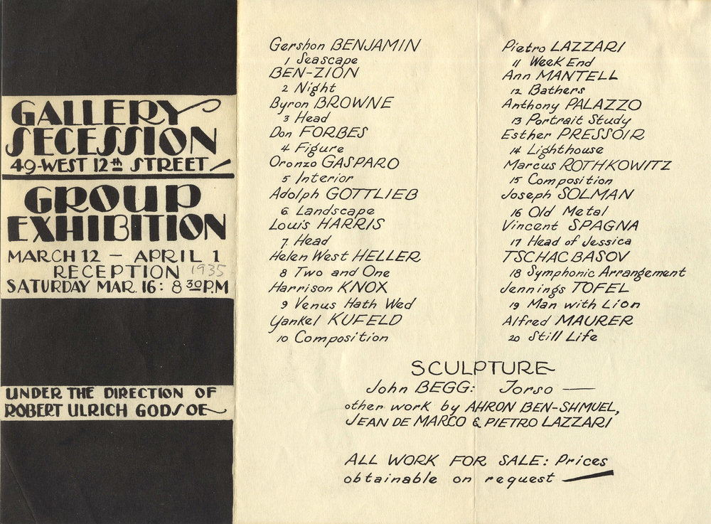 Announcement for an exhibition <br> at Gallery Secession in New York <br> 1935