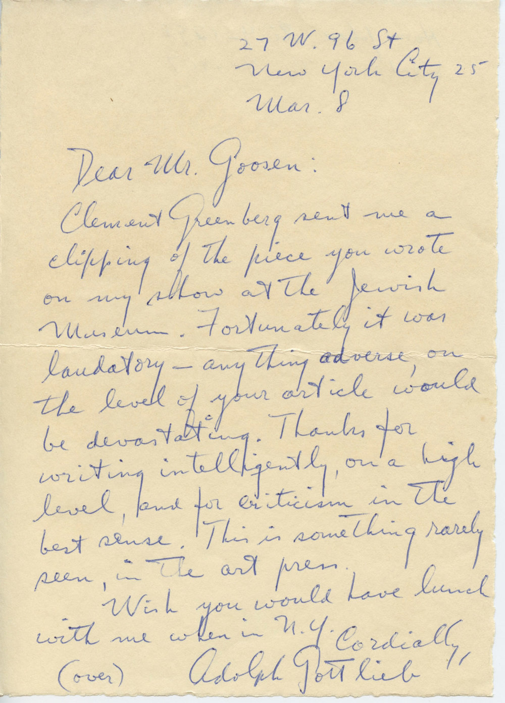 Letter from Gottlieb to <br>the art critic Eugene Goossen<br>1957