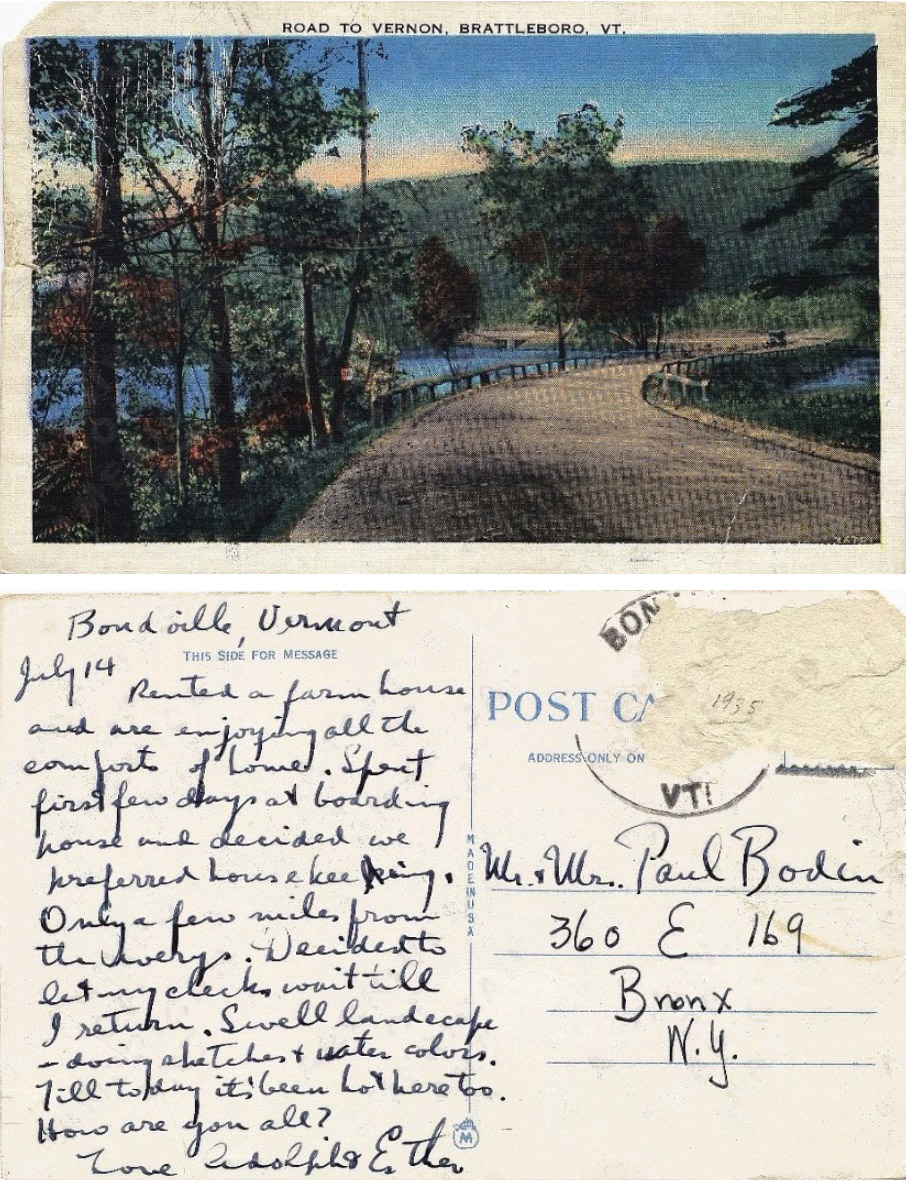 Postcard to Paul Bodin from <br> The Gottliebs <br> c. 1937