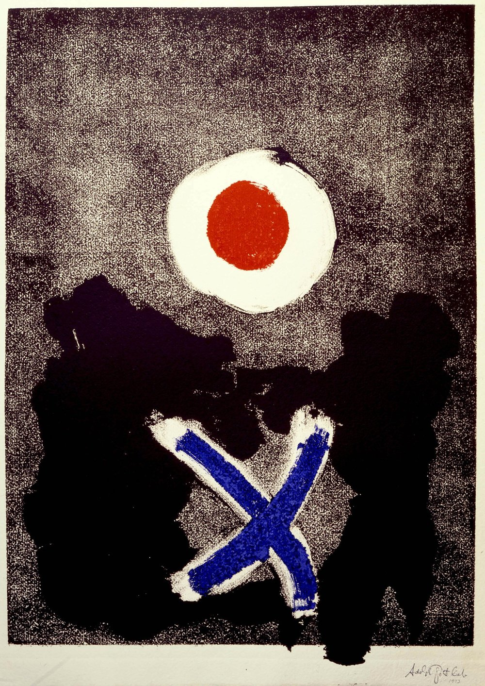 Adolph Gottlieb  Untitled  1974 Monotype in ink on paper 26 x 18""