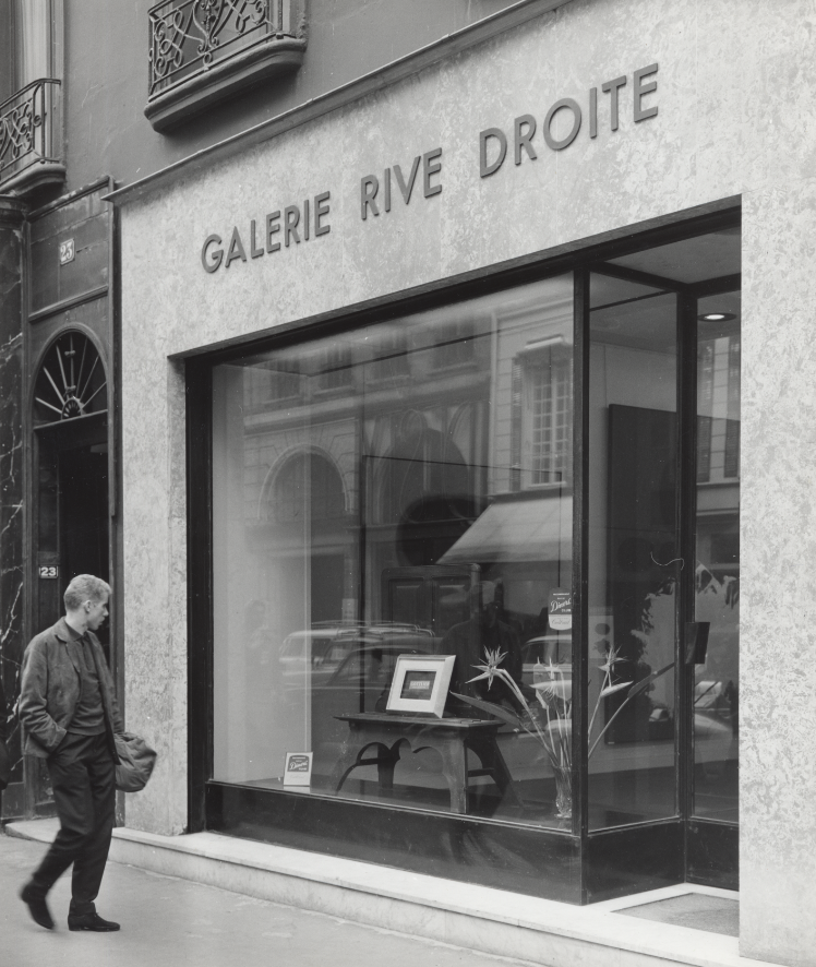 Outside of Galerie Rive Droite, Paris, 1959.