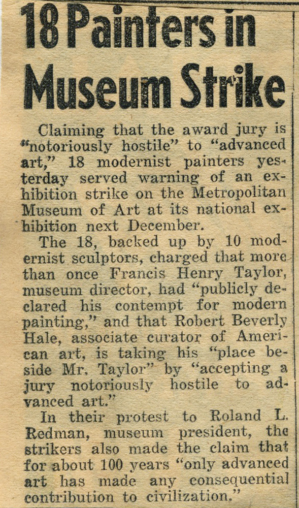 """18 Painters in Museum Strike""<br />Published in ""The Daily News""<br />1950"
