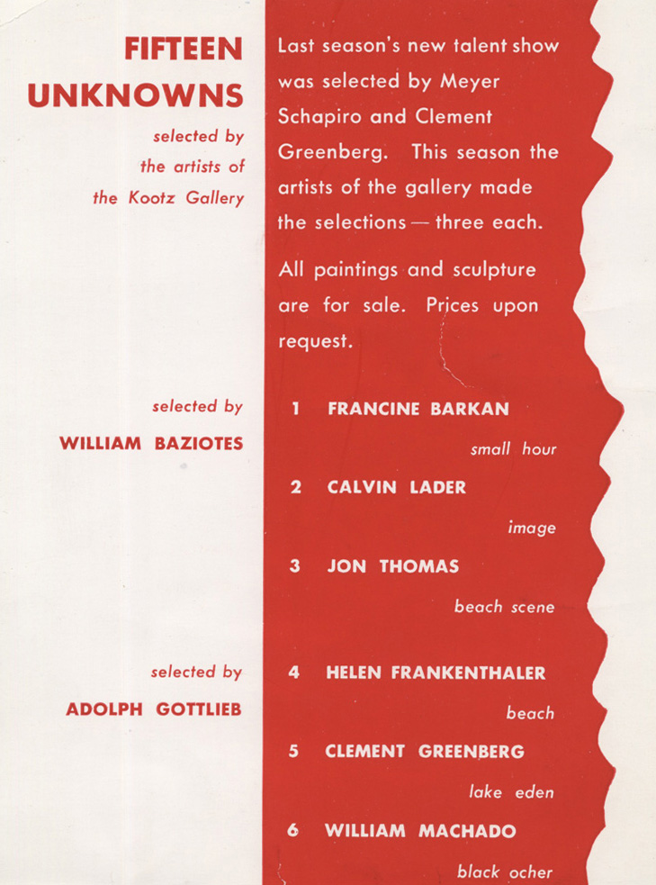 """Invitation to """"Fifteen Unknowns: Selected by Artists of the Kootz Gallery"""" at Kootz Gallery, 1950."""