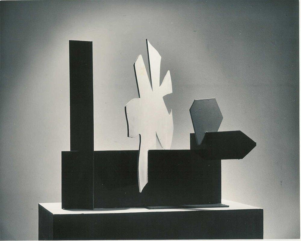"PETALOID WITH HEXAGON, 1968, painted steel, 24 ⅛ x 27 ¾ x 19 ¼"""