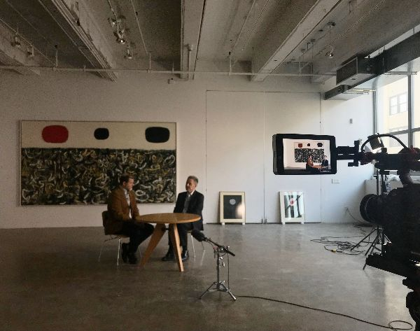 "Dr. Kent Minturn and Gottlieb Foundation Executive Director Sanford Hirsch, being filmed  Shown in the background, L to R: GROUNDSCAPE, 1956, oil on canvas,84 x 144 "" GREEN DREAM, 1967, acrylic on paper,24 x 19 "" BURST (FIRST STATE), 1974, acrylic on paper,23 7/8 x 18 "" ©Adolph and Esther Gottlieb Foundation/Licensed by ARS, NY, NY⠀   The full exhibition video can be viewed    here   ."