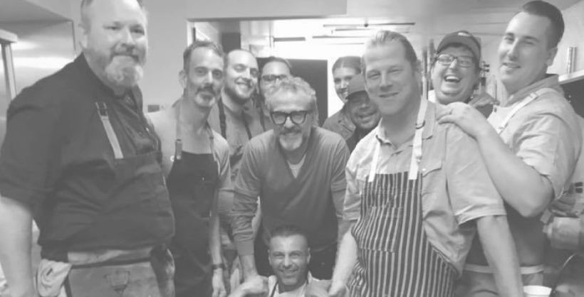 In the commissary kitchen for Slow Food Nations. Chef Massimo Bottura stopped by.  1. Drew Deckman 2. Stephen Satterfield 3. Fabrizio Facchini 4. Daniel Asher 5. Alex Seidel 6. Paul Reilly 7. Eric Lee
