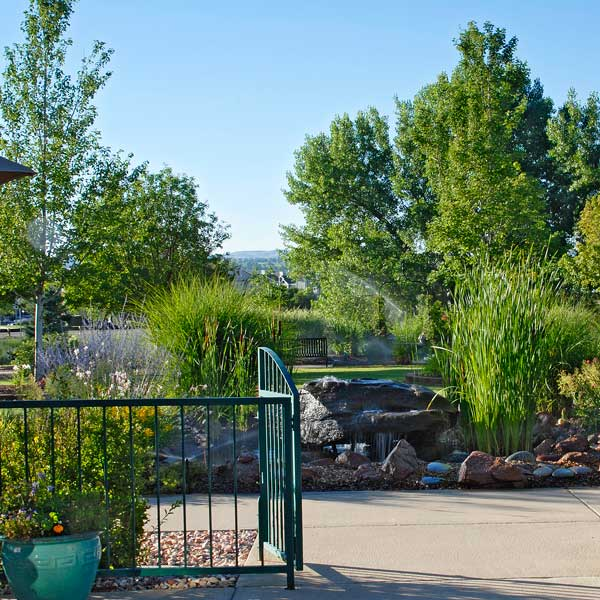 The Gardens at Columbine offers spacious botanical gardens