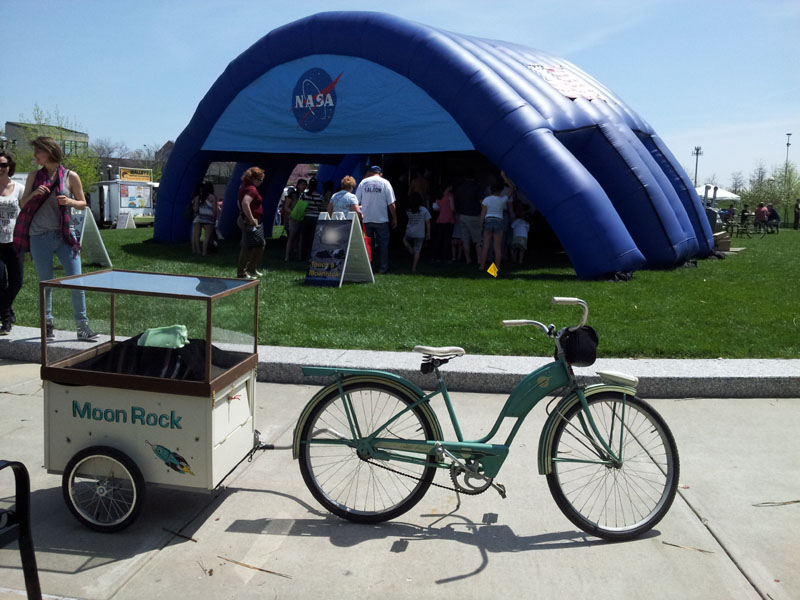 Moon Rock bike display crashing a NASA moon rock exhibition at the White River State Park.