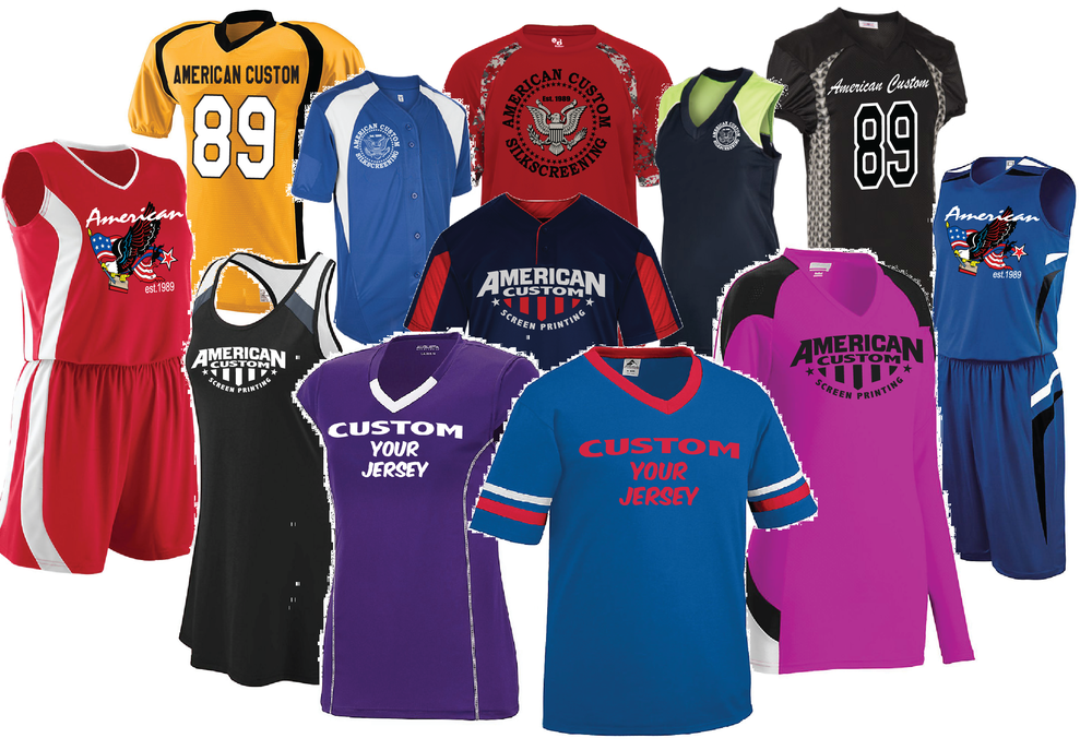 Jerseys  - Put your team's logo on anything.Add personalized names and numbers!Baseball, Basketball, Cheer, Dance, Football, Hockey, Softball, Tennis, and more