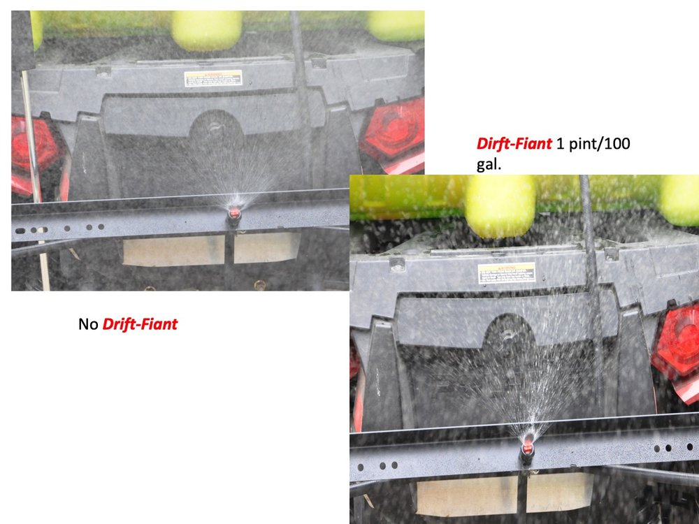 Another shot of how  Drift-fiant  affects the spray pattern this time a spraying on a 4 wheeler.