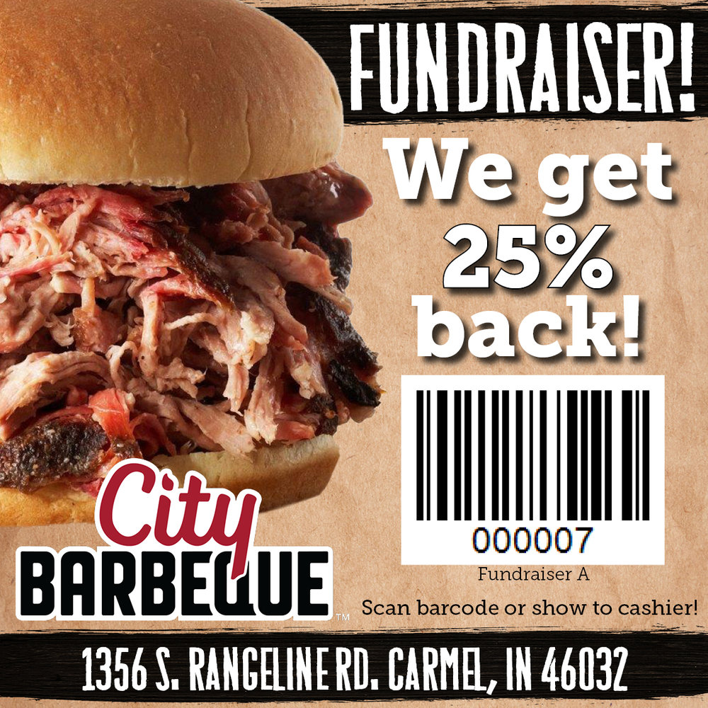 Thursday, November 8th - Please join the Indiana Wind Symphony at City Barbeque in Carmel on Thursday, November 8th, 2018 from 10:30am-10pm to raise funds for the Indiana Wind Symphony!City Barbeque will donate 25% of your dinner's proceeds to the Indiana Wind Symphony when you present this coupon flyer.Hope to see you there!