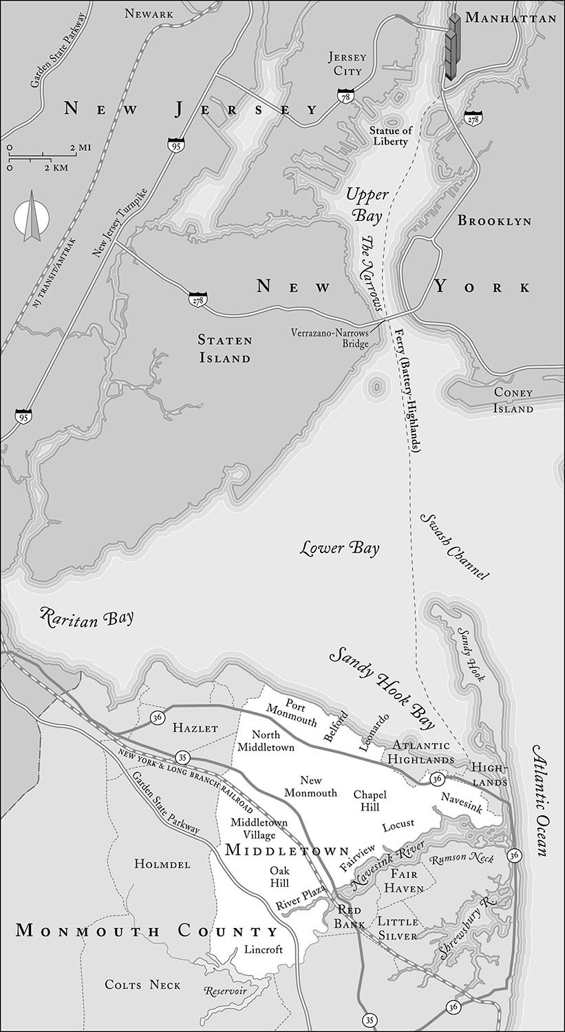From   Middletown, America: One Town's Passage from Trauma to Hope,  by Gail Sheehy  (Random House, 2003).  Map copyright © David Lindroth Inc.  Sheehy explores the effects of 9/11 on a New Jersey town that lost nearly fifty residents to the terrorist attack..
