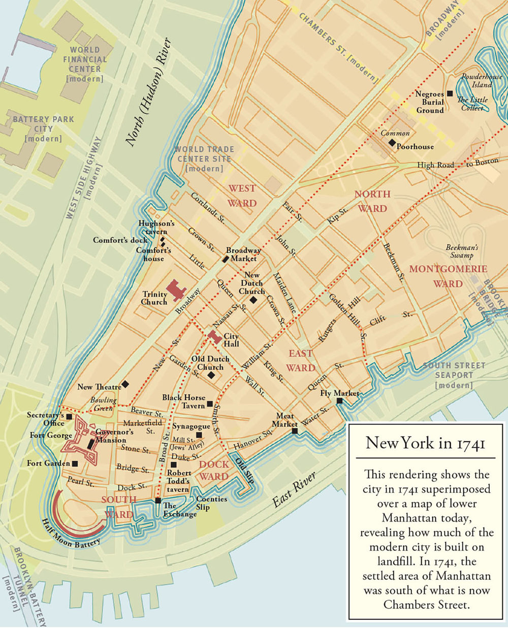 A colorized detail from a grayscale map designed for New York Burning: Liberty, Slavery, and Conspiracy in Eighteenth-Century Manhattan, by Jill Lepore (Knopf, 2005). Map copyright © Jill Lepore.  This map superimposes a rendering of 18th-century New York on the present-day plan; site and street names have been edited to suit the text.