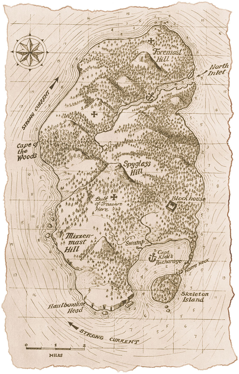 For    Treasure Island,  by John Louis Stephenson   (Map copyright © Readers Digest Association, Inc. 1985). This version was based on a close reading of the text, not on any previously published maps. This map was drawn in pen & ink on illustration board.