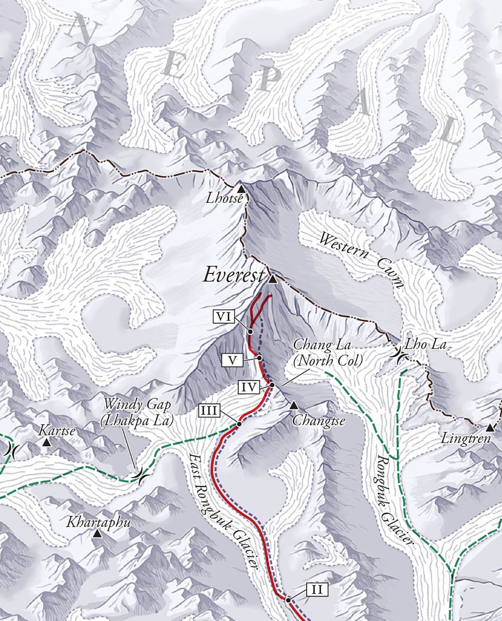 "For    Into the Silence: The Great War, Mallory, and the Conquest of Everest,  by Wade Davis,   (Knopf, 2016). Map copyright © Wade Davis.  This is a colorized detail from the ""Inner Massif"" map, showing the Mallory expedition's final approaches to Everest from the north.  At the time Tibet was open to the British, Nepal was not."