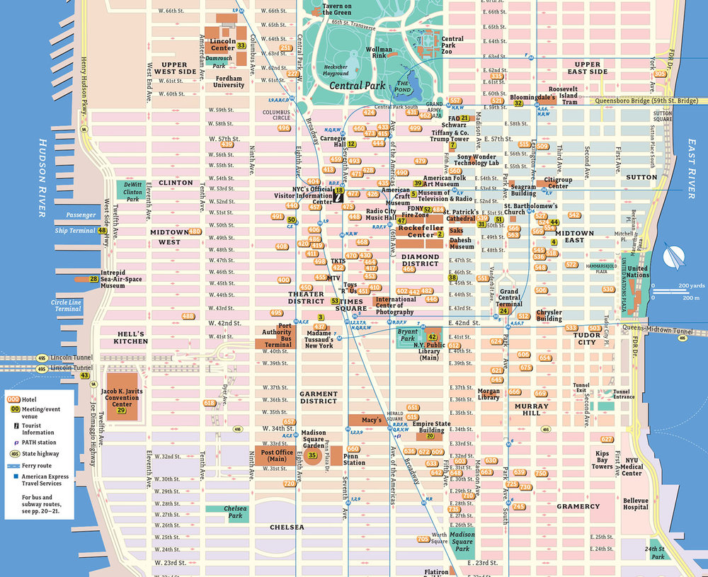 Our maps were used in a variety of NYCVB publications, including the Meeting planning Guides, the Visitors' Guides, the stand-alone tourist map, and also in very simplified form on the web.