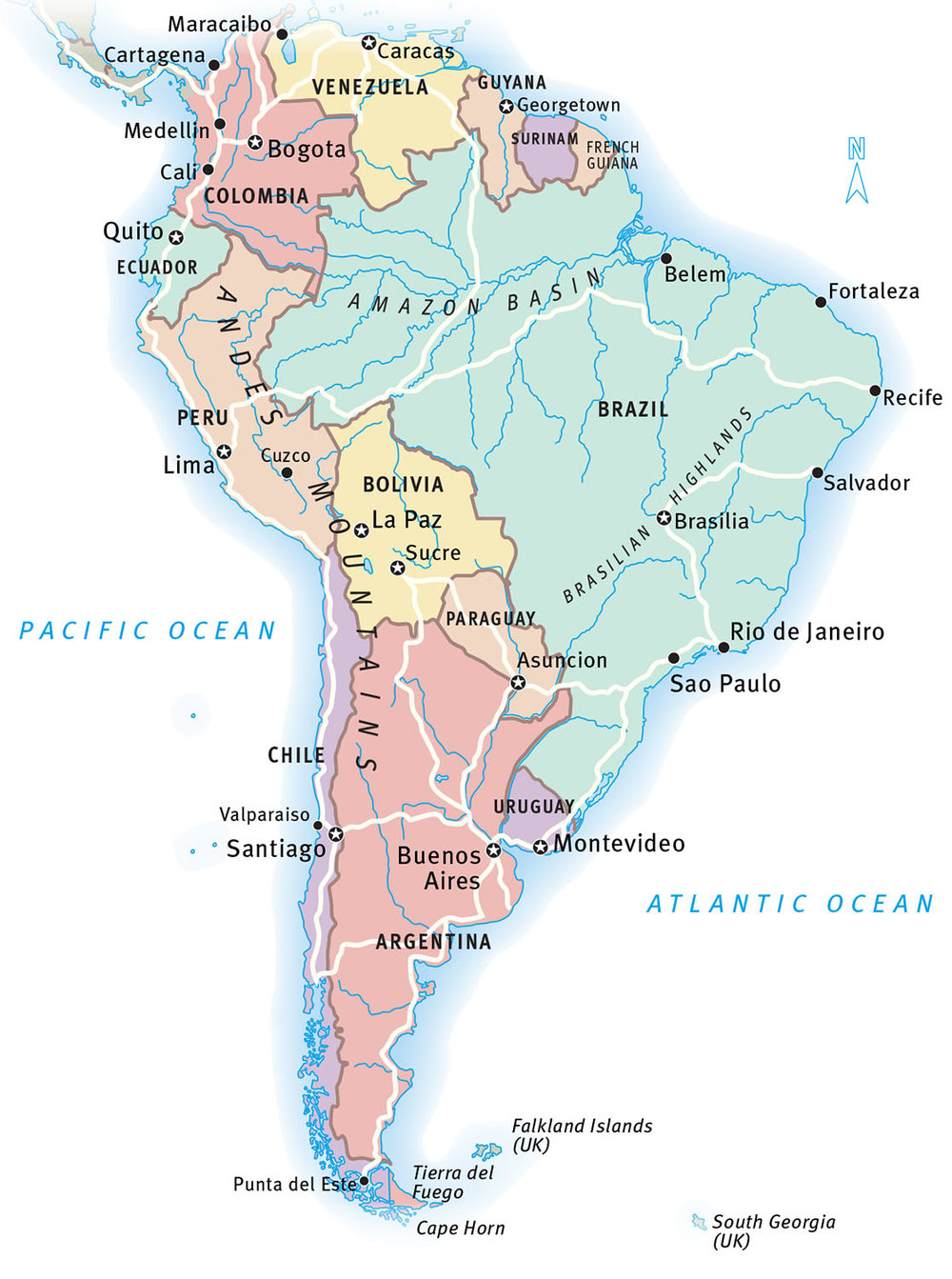 Map of South America for the tour operator   Travel Impressions.    Map copyright © David Lindroth Inc. These maps appear in their printed brochures and online.