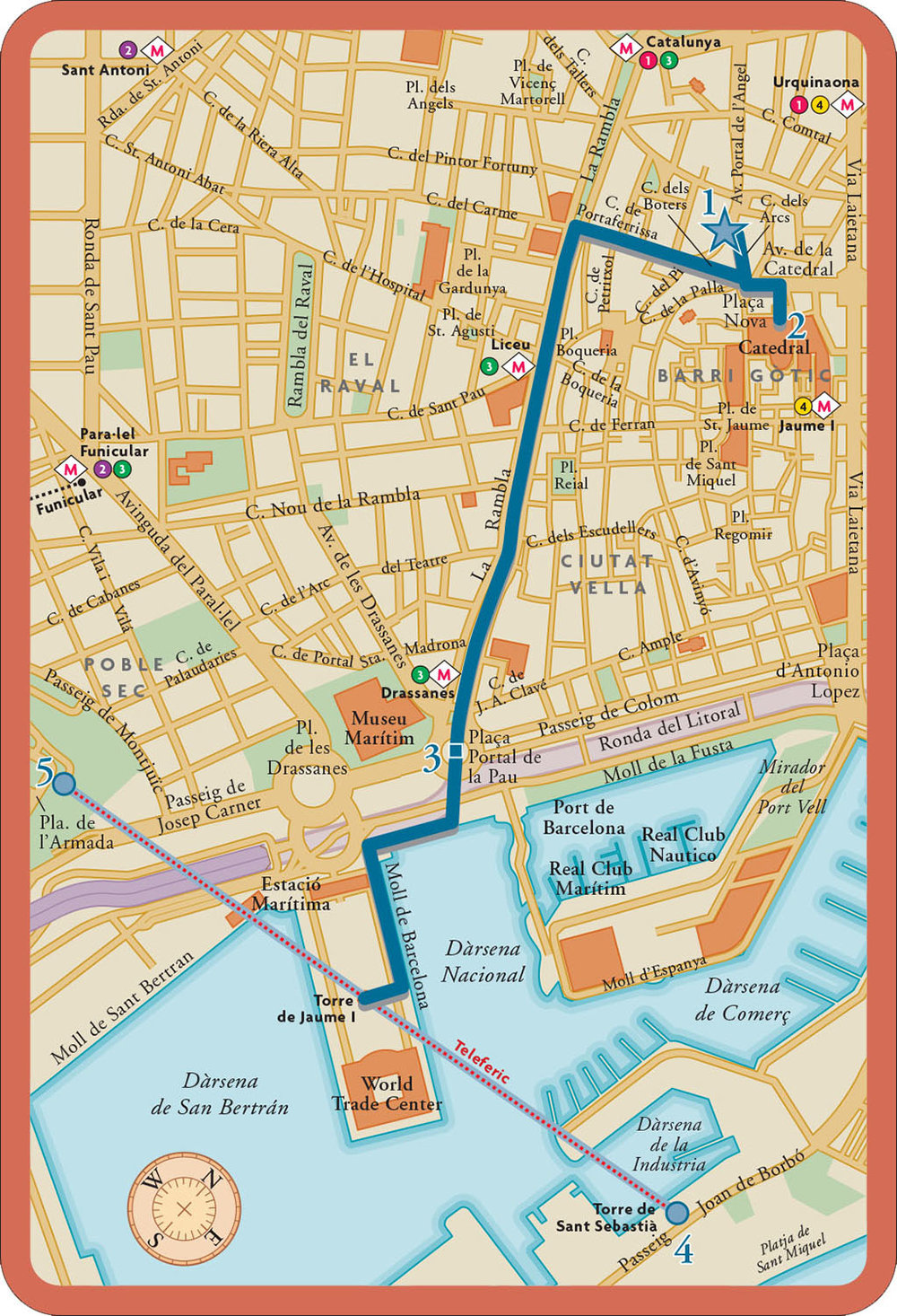 From   CityWalks Barcelona   (Chronicle Press, 2007).  Map copyright © David Lindroth Inc.  The product is a boxed set of 50 walking tour cards with map on the card front and itinerary on the back.