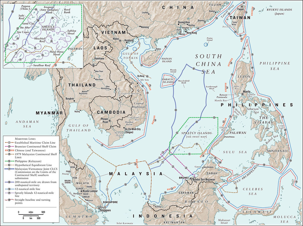 Competing claims to the South China Sea, from   Asia's Cauldron: The South China Sea and the End of a Stable Pacific,  by Robert D. Kaplan  (Random House, 2014. Map copyright © David Lindroth Inc.