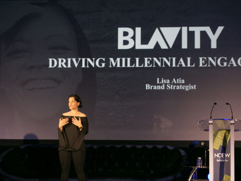 Lisa at New Orleans Entrepreneur Week in 2017 presenting on a keynote on communications and brand strategy.  [The Distillery.]