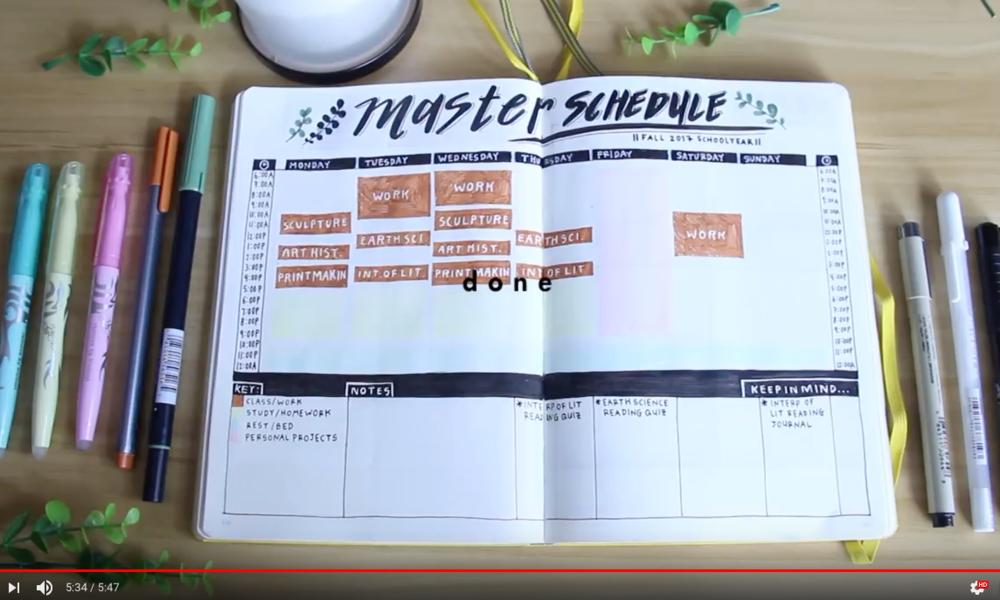 School Bullet Journal // Watch Video