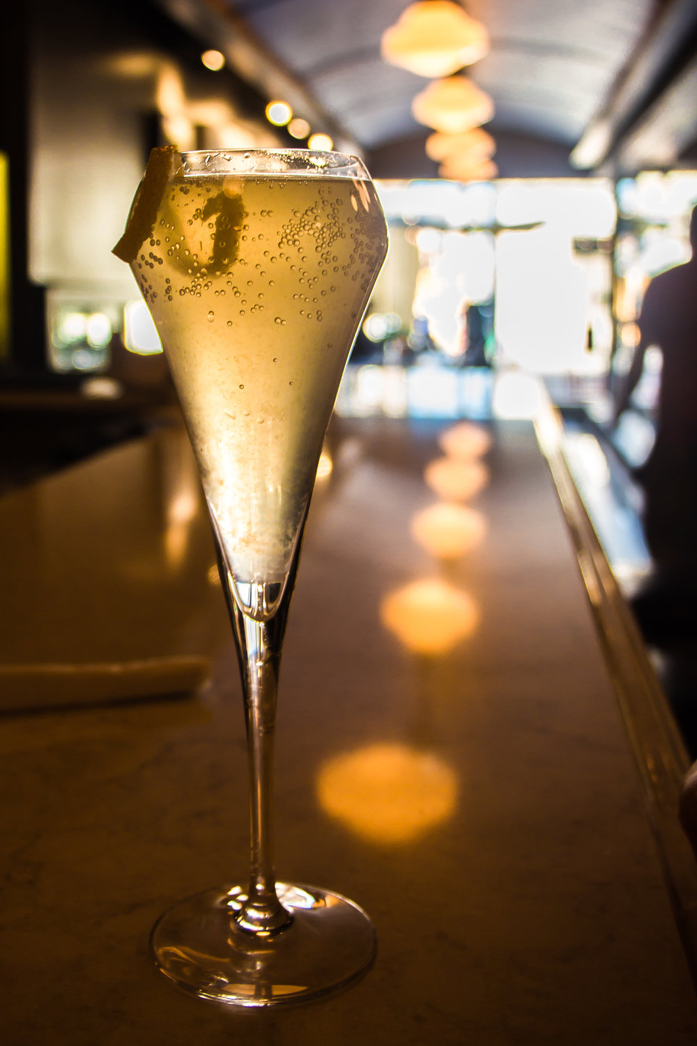 FRENCH 75: Plymouth, lemon, thyme simple, prosecco