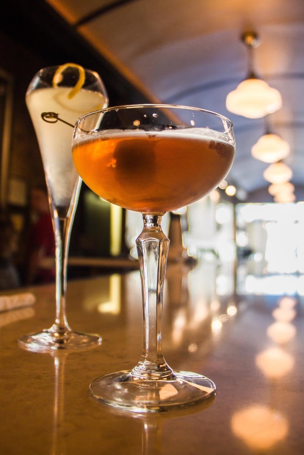 MANHATTAN: George Dickel rye, cocchi, torino, plum bitters, house cherry