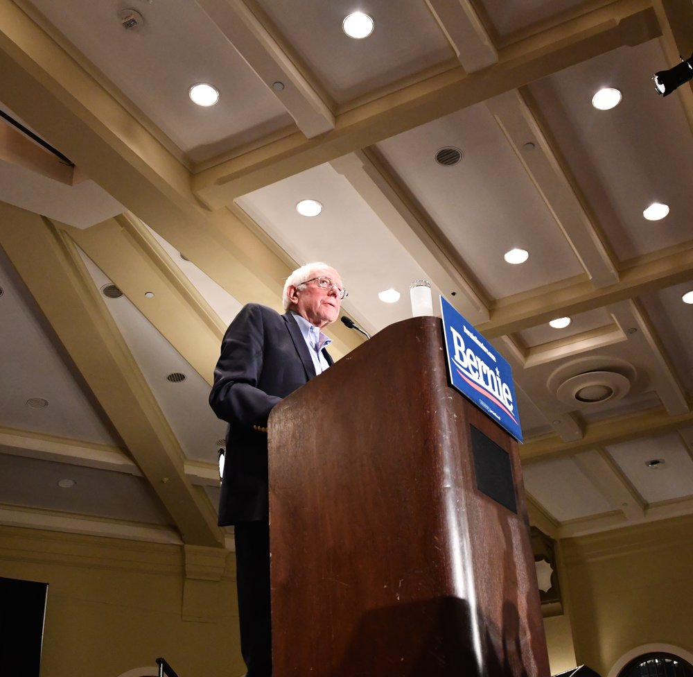 Senator Bernie Sanders at the podium, delivering his speech.  Photo by Olivia Harter