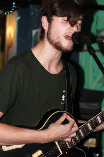 Lead vocalist Jack Ratajczak playing with his band Nosebleeds.  Courtesy of Nosebleeds. Photo taken by Sara Soroko.