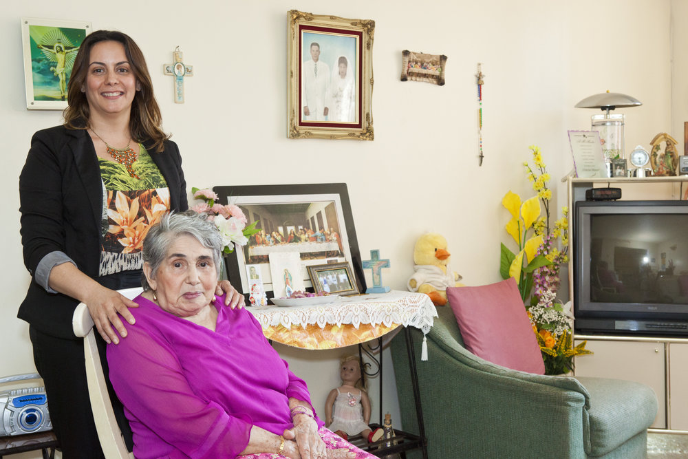 A daughter and her mother, who receives home care services from St. Nicks Alliance.