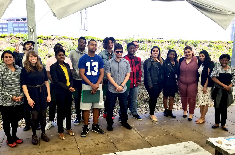 St. Nicks Alliance Workforce Development's 1st urban greenscaping training class graduates, pictures with some of their supporters.