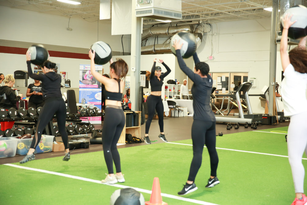Personal trainer Chelcie Scott leads the WAGS in a high intensity workout