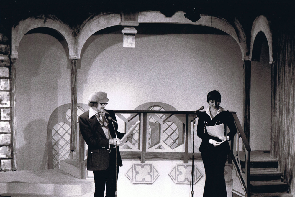 Dave and Luba recording Royal Canadian Air Farce for CBC Radio at the Curtain Club in Richmond Hill, Ontario - 1973