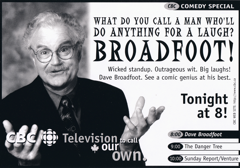 "TV Guide ad for Dave's first hour-long CBC special, ""Old Enough to Say What I Want"" - 1996"
