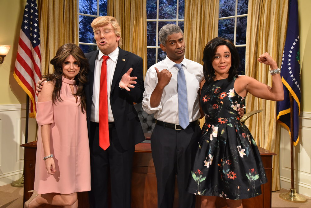 The Obamas (Darryl Hinds, Aisha Alfa, right) get Trump'd by Donald (Craig Lauzon) and Melania (Emma Hunter).