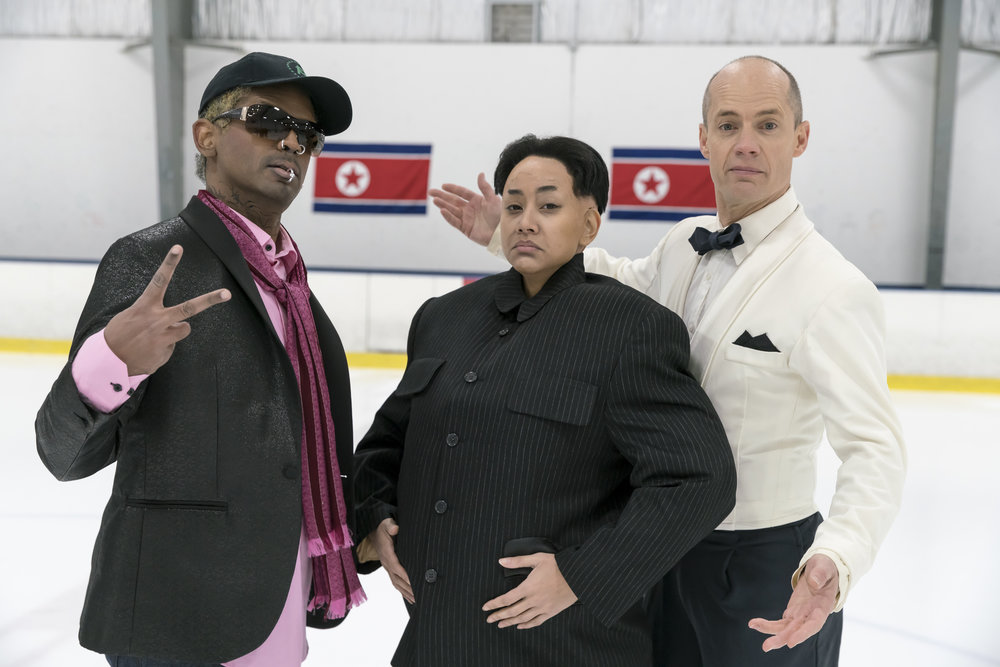 In preparation for the 2018 Winter Olympics in South Korea, North Korean leader Kim Jong-un (Isabel Kanaan, centre) gets some last-minute training from Dennis Rodman (Darryl Hinds) and special guest Kurt Browning. Also featuring special guest Lloyd Robertson (not pictured).