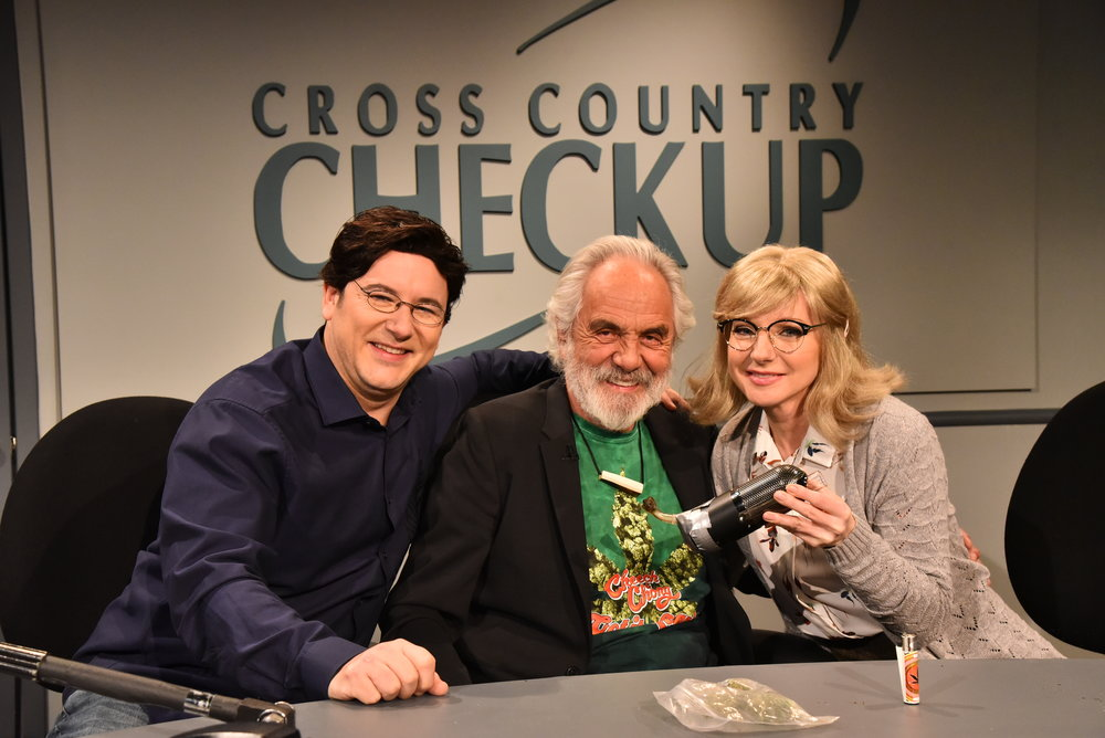 Tommy Chong  stops by CBC Radio's Cross Country Checkup to explain the new cannibis laws to  Craig Lauzon  (as host Duncan McCue) and  Jessica Holmes .