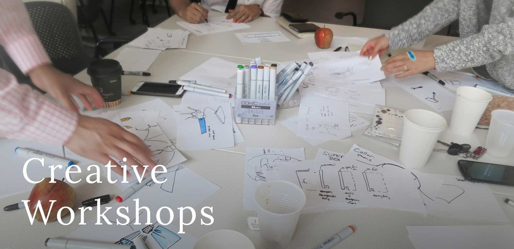 We Lead Creative Workshops to Stimulate New Ideas.    Methods   GUIDED IDEATION STRUCTURED BRAINSTORMS SCENARIO BUILDING JOURNEY MAPPING