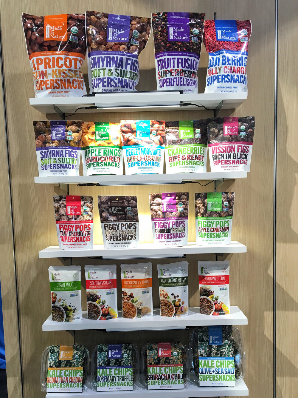Made in Nature's Wall of SNACKS at EXPO West!